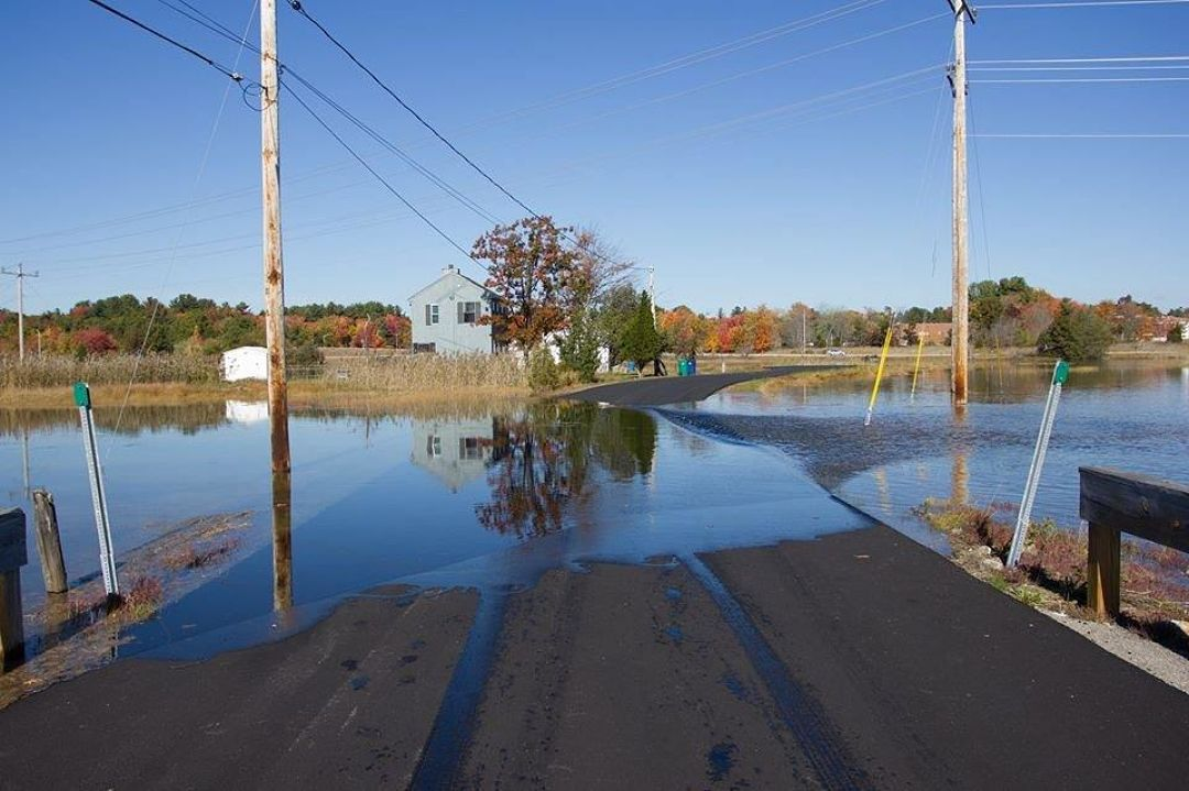 King Tide overtops a residential road in Hampton, NH (Photo: Will Brown)