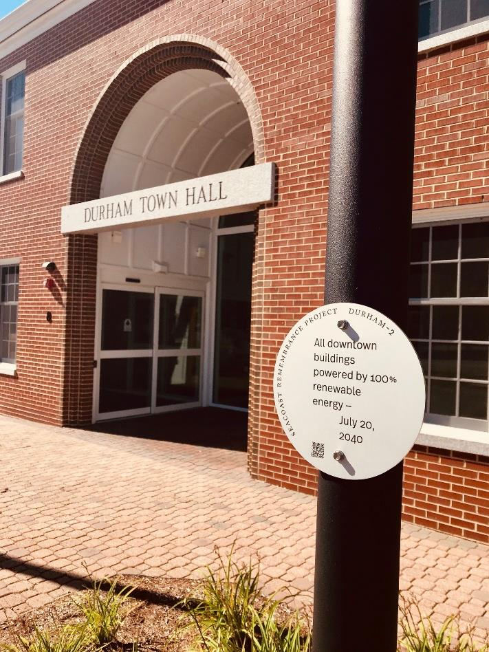 Remembrance of Climate Futures marker at Durham Town Hall