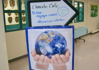 Climate cafe sign, Climate in the Classroom - Sunapee 6th grade, 2020