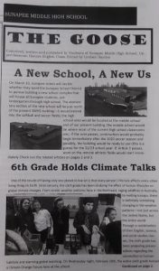 Student newspaper article, Climate in the Classroom - Sunapee 6th grade, 2020