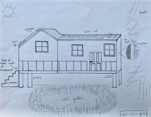 Students' sketch of their resilient house in Hampton Falls
