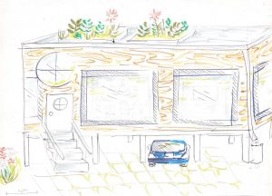 Students' sketch of their resilient house in Seabrook