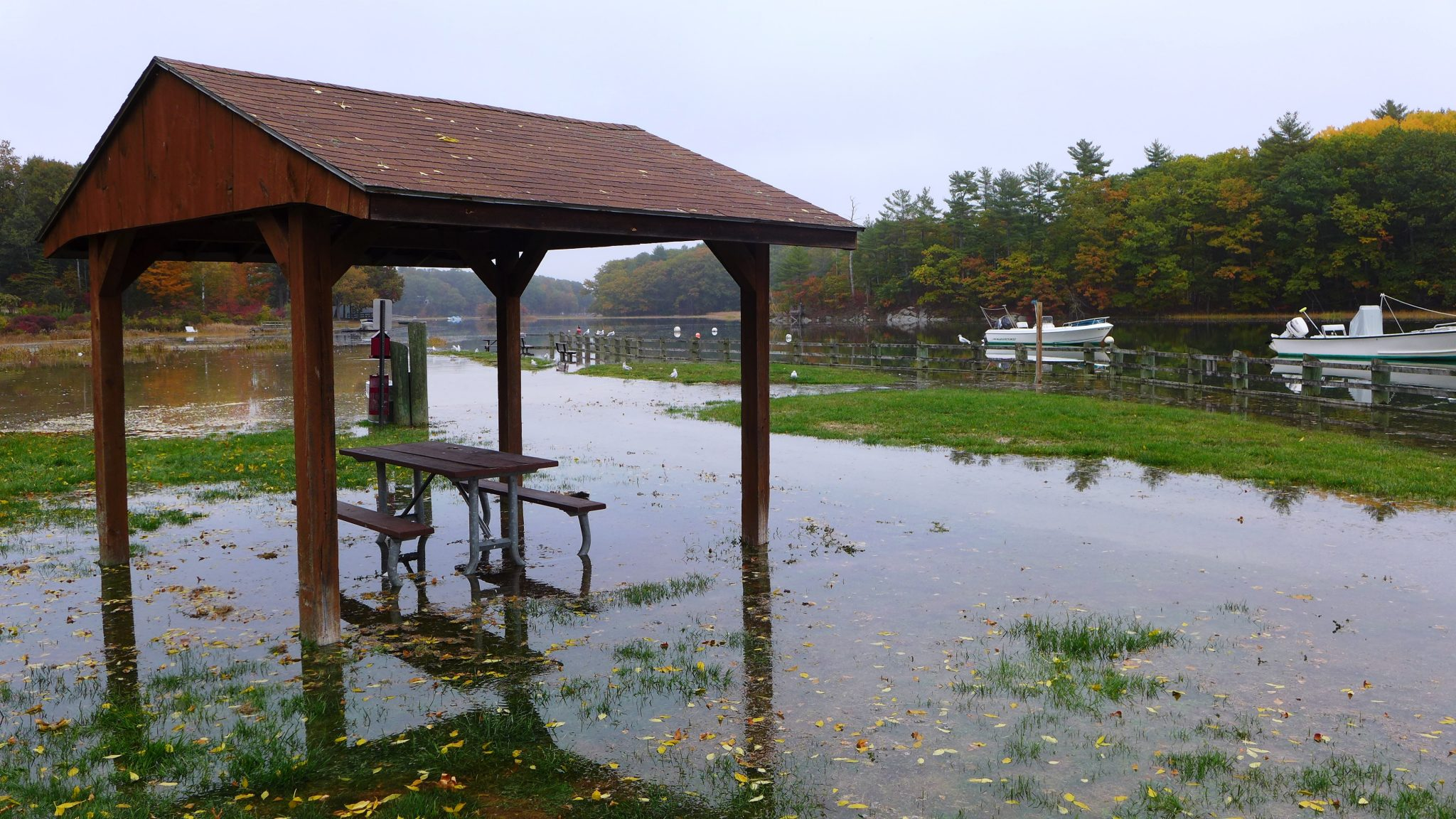 A flooded area of land next to a body of water in Durham
